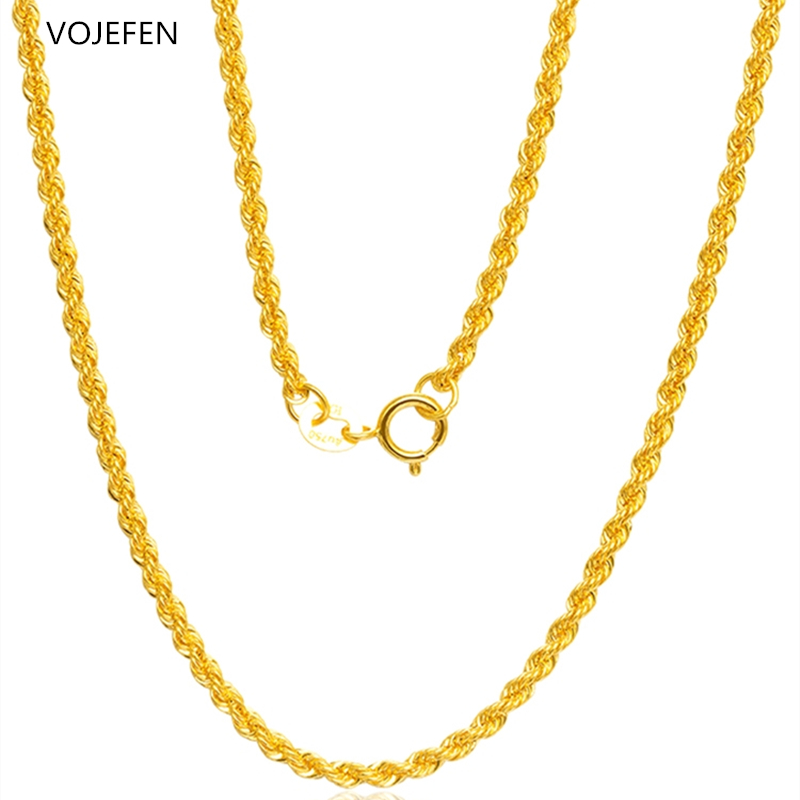 VOJEFEN Fine Jewelry 18K Real Gold Rope Chain Jewelry Necklace for Men and Women- Braided Twist Chain Necklace AU750 1