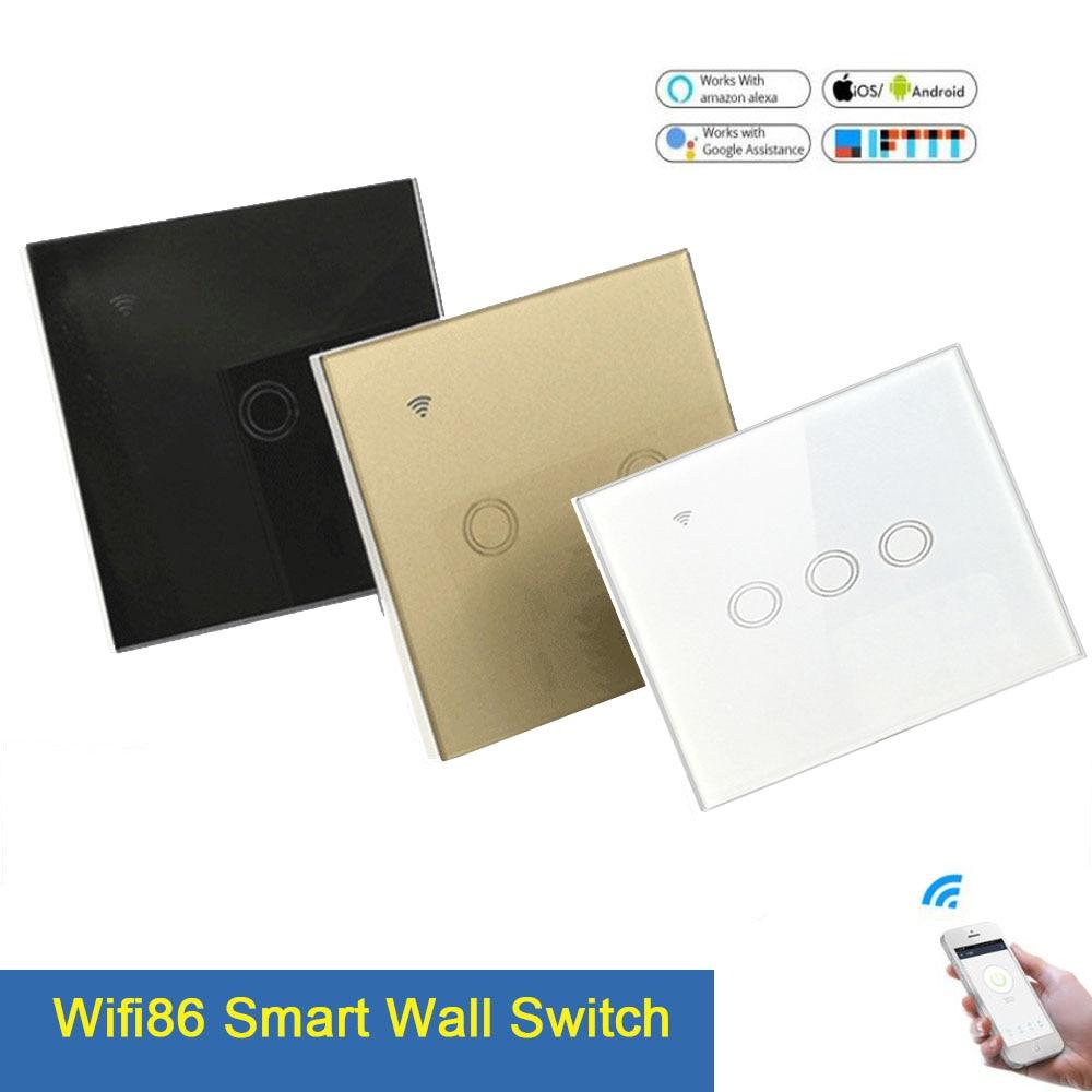 1/2/3 Gang Wifi Light Switch Touch Switch Smart Light Control Panel Wall interruptor US/EU/UK Standard Work with Alexa Google Ho