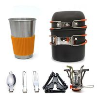 Camping Cookware Stove Carabiner Canister Stand Tripod and Stainless Steel Cup, Tank Bracket, Fork Knife Spoon Kit for Backpack