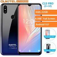OUKITEL C15 Pro 3GB GB 6.088 ''Tela Grande Android 9.0 Torta MT6761 32 Waterdrop 5G Wi-fi do Smartphone telefone móvel