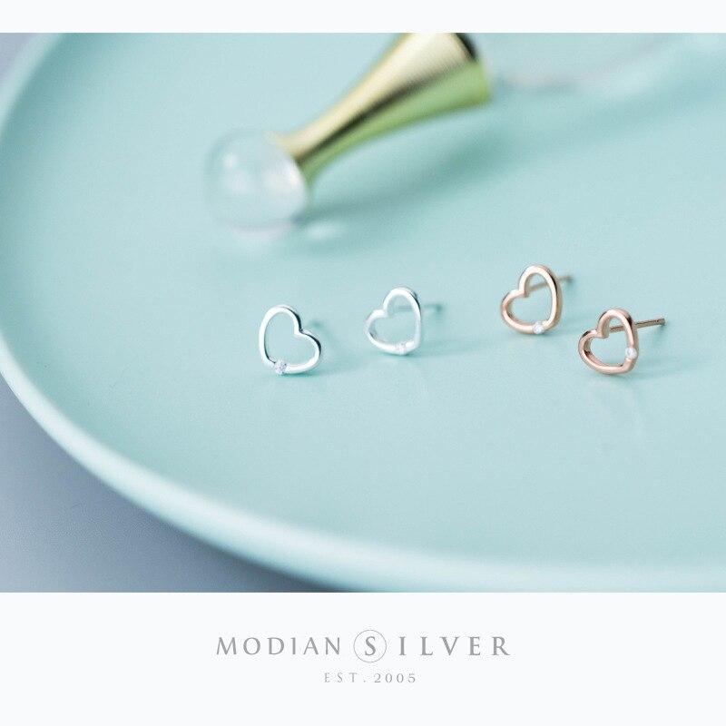 Modian 100% 925 Sterling Silver Rose Gold Color Hearts Clear CZ Stud Earrings for Women Fashion Wedding Silver Jewelry Bijoux