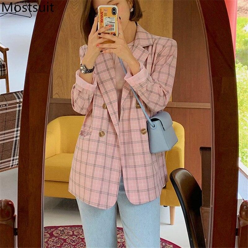 2020 Autumn Korean Plaid Women Blazers Coats Long Sleeve Notched Collar Double-breasted Fashion Casual Elegant Jackets Blazers