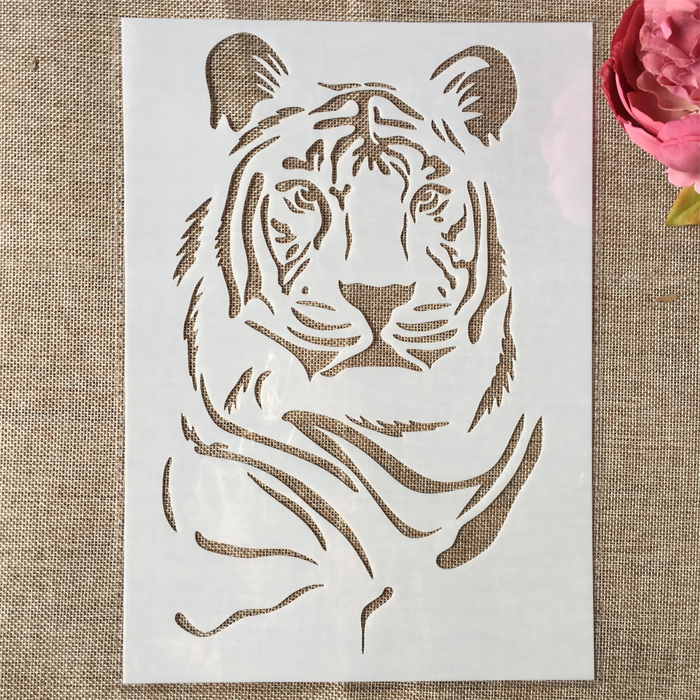 29cm A4 Awesome Tiger DIY Layering Stencils Wall Painting Scrapbook Coloring Embossing Album Decorative Paper Card Template
