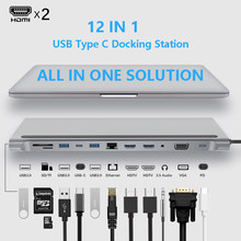 USB Type C Hub Adapter Laptop Docking Station, MST Dual Monitor Dual HDMI VGA RJ45 SD TF for MacBook Dell XPS Hp Lenovo ThinkPad