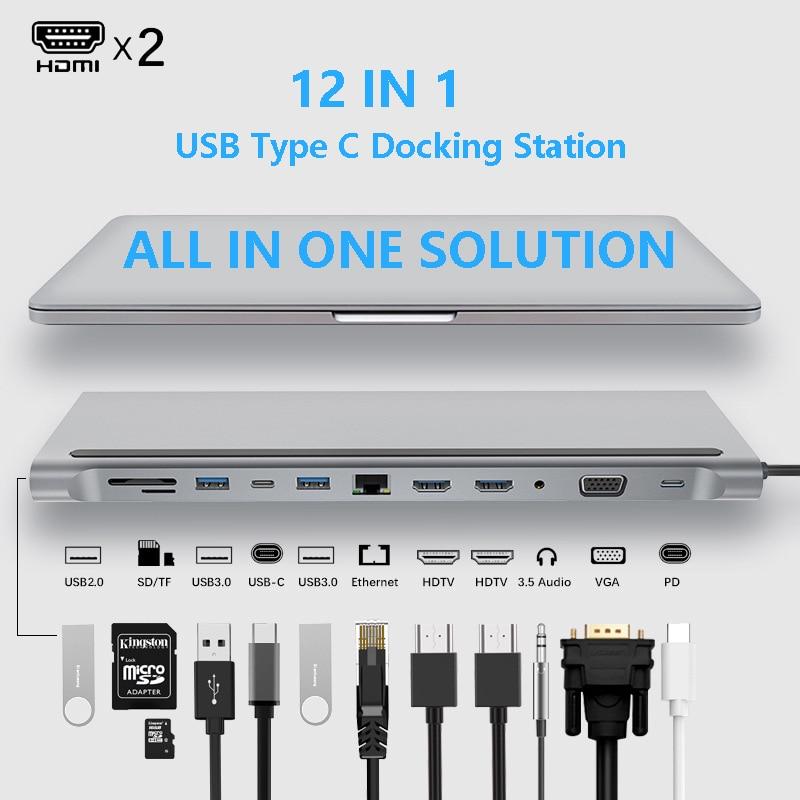 USB Type C концентратор адаптер док-станция для ноутбука, MST двойные мониторы с двумя дисплеями HDMI VGA RJ45 SD TF для MacBook Dell Hp Lenovo