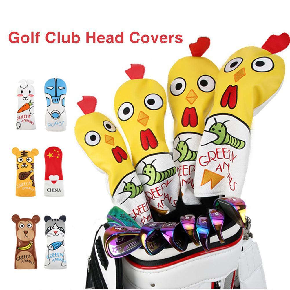 Golf Club Headcover Lovely Cartoon Golf Driver Head Cover Cartoon Animal #1 #3 #5 #7 Woods PU Leather HeadCover Dustproof Covers