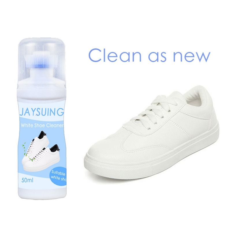 Portable White Shoes Cleaner With Shoe Brush Whiten Refreshed Polish Cleaning Tool For Casual Leather Shoe Sneakers 50ml #L