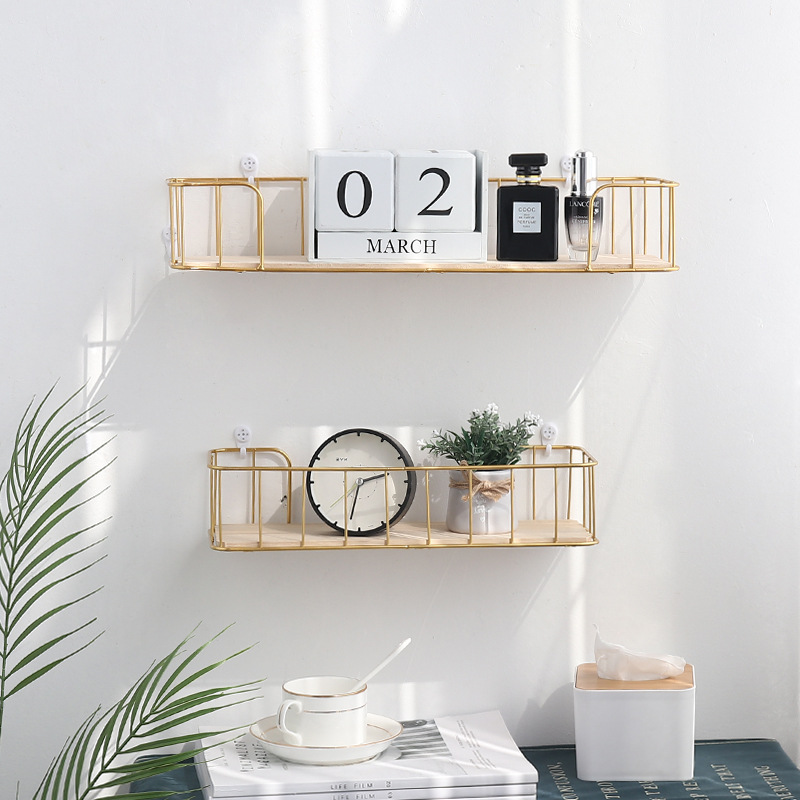 Solid Wood Storage Rack Wrought Iron Simple Wall Shelf Wall