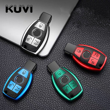 Leather TPU Car Key Fob Case Cover Protector For Mercedes Benz E C G M R S Class W204 W212 W176 GLC CLA GLA AMG Car Accessories