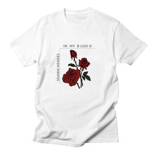 Rose T-shirt Mannelijke Shawn Mendes Shirt Plus Size Camisetas Mujer Poleras De Mujer Wit T-shirt Vrouw T-shirt(China)