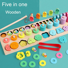 New Wooden Toy Arithmetic Montessori Toys fishing Count Geometric Shape Cognition Early Education Teaching Aids Gift Math Toy