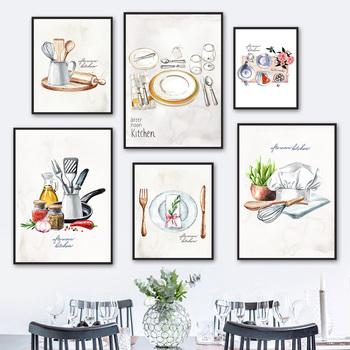 Nowoczesne przyprawy akwarelowe narzędzia kuchenne obraz ścienny na płótnie Nordic plakaty i druki zdjęcia ścienny do wystroju jadalni tanie i dobre opinie NEWBLUMOUM CN (pochodzenie) Wydruki na płótnie Pojedyncze PŁÓTNO Wodoodporny tusz abstrakcyjne bez ramki NE-A-4835-G
