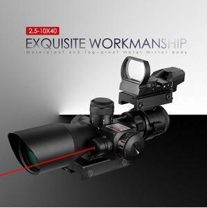 2,5-10X40 rojo y verde punto iluminado retícula caza Rifle alcance mirada láser telescópico con monturas ajustables