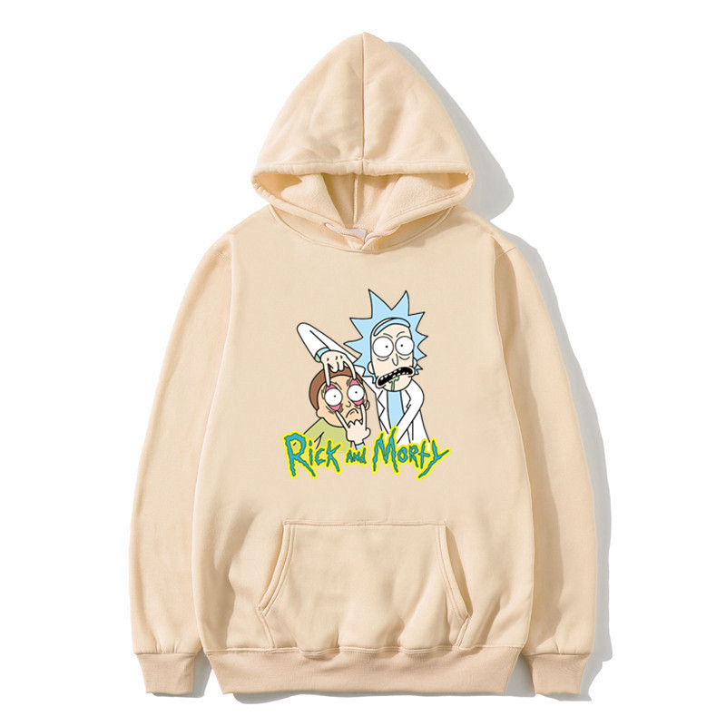 Mens Rick And Morty Printed Hoody Pullover Man's  White Streetwear Harajuku Hooded Cartoon Hoodies And Sweatshirts S -3XL