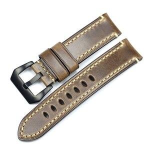 Image 2 - PSTARY Holwin Horween Chromexcel lśniący połysk skórzany pasek 20mm 22mm 24MM męski zegarek wojskowy pasek