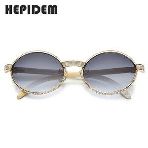 Image 2 - HEPIDEM bawoli róg okulary mężczyźni luksusowy gatunku projektanta okrągły diament dla kobiet nowy wysokiej jakości odcienie