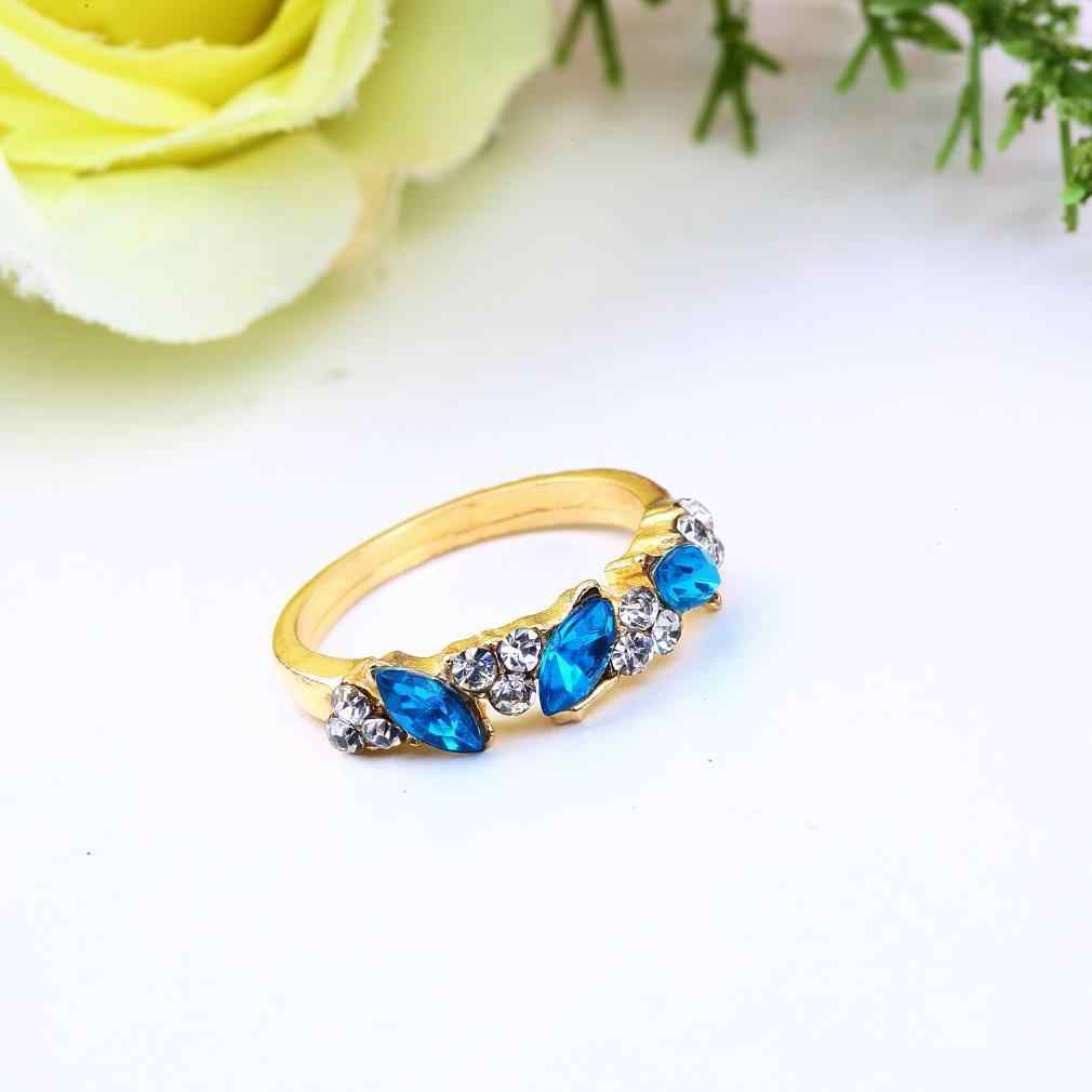 1pcs Vintage สีฟ้าพราวคริสตัลเลียนแบบ Emerald Rhinestone Elegant Finger Ring