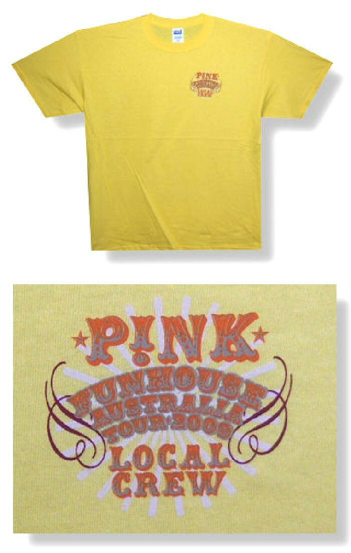 Pink <font><b>P</b></font>!<font><b>NK</b></font> Local Crew Funhouse 2009 Australia Tour Yellow <font><b>T</b></font> <font><b>Shirt</b></font> L New Official image