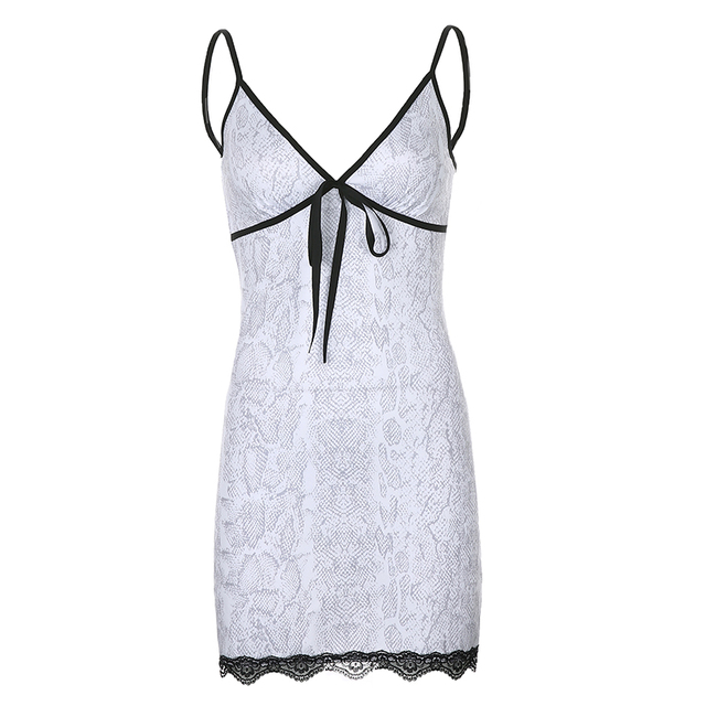 HEYounGIRL White Snake Printed Sexy Mini Dresses Ladies Front Tie V Neck Sleeveless Bodycon Dress Lace Backless Strappy Dress 5