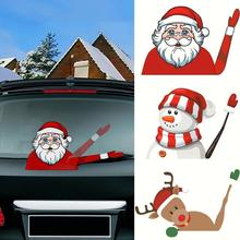 高品質クリスマス装飾サンタクロース 3D pvc振っ車のステッカースタイリング窓ワイパーデカールリアフロントガラスの装飾