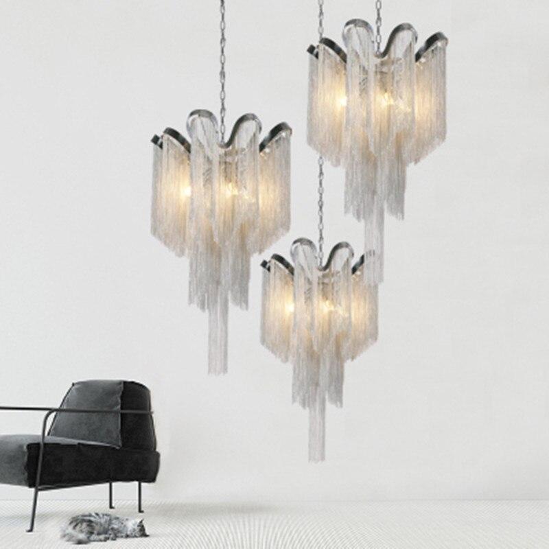 Modern Minimalism D40 H65cm Aluminium Tassel E14 Led Pendant Lights Lustre Luminarias Chain Hanging Lamp Led Lamparas Fixtures|Pendant Lights|   - title=