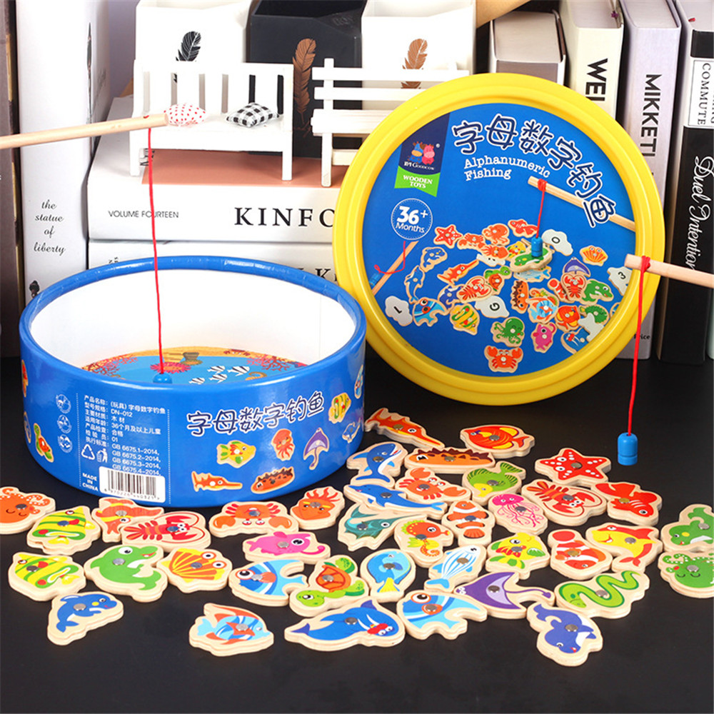 40pcs Multi-function Learning Math Toys Educational Magnetic Fishing Game For Kids Wooden Fishing Toys Children Birthday Gifts
