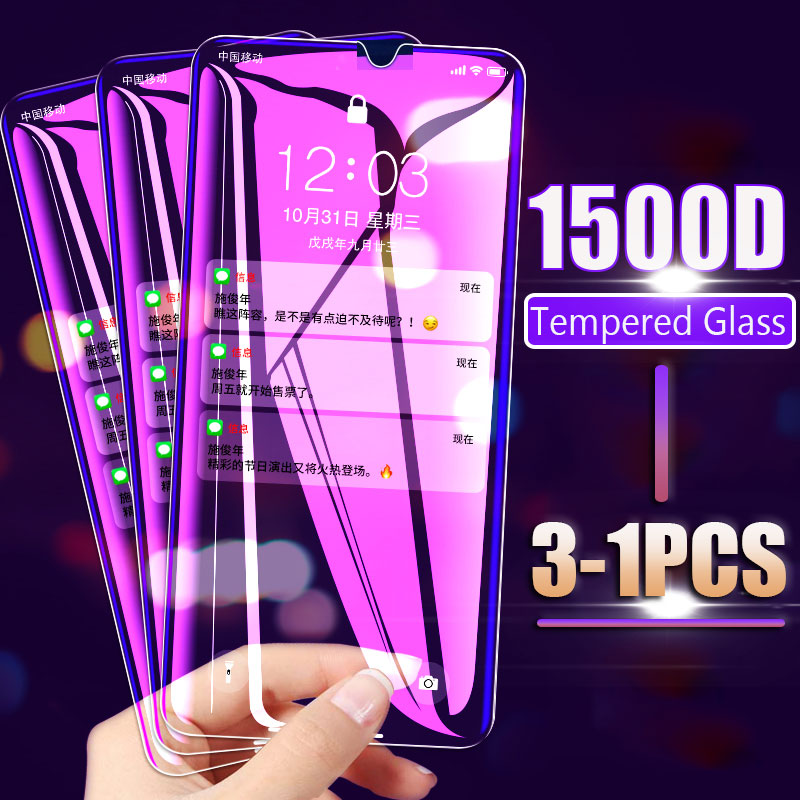 1500D 3-1PCS Tempered Protector Glass For Samsung Galaxy A50 A20 A30 A70 M20 M30 Screen Protector A51 A71 A80 A9S Glass Cover