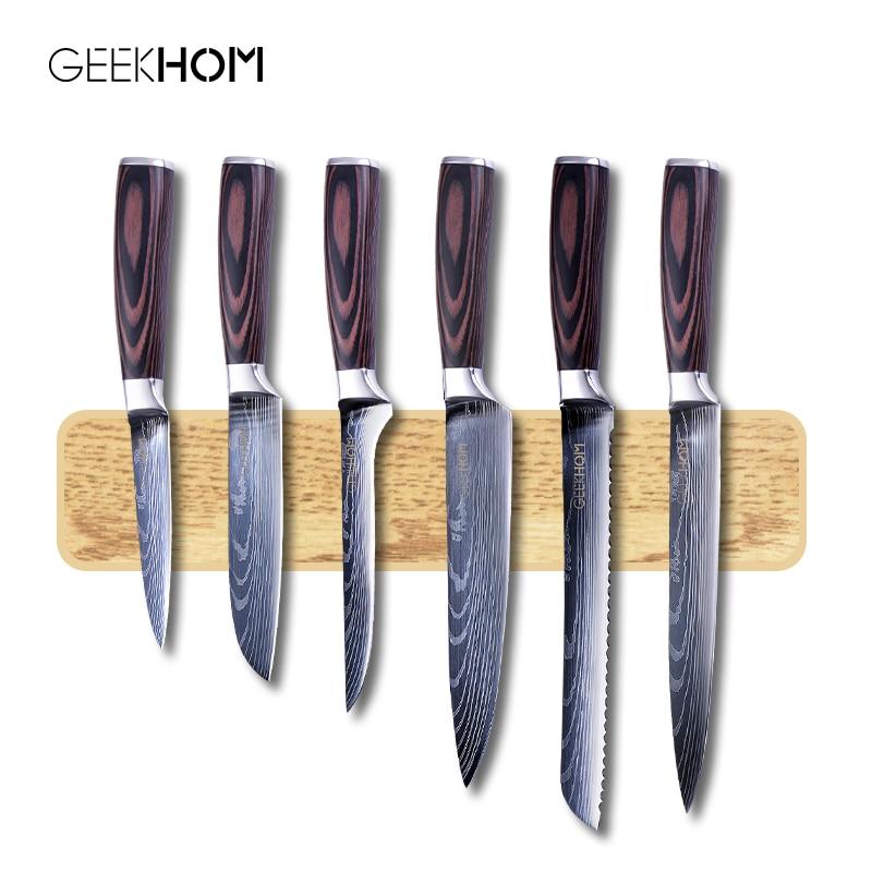 Кухонный нож GEEKHOM, ножи шеф повара 7CR17 440C из высокоуглеродистой нержавеющей стали, дамасский набор лезвий для рисования, нож для резки мяса Santoku|Кухонные ножи|   | АлиЭкспресс