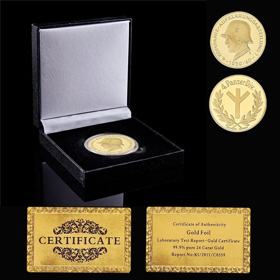 WWII Germany National Emblem Military Soldier Kompanie Aufklarungsabteilung 4 Panzerdiv Gold Commemorative Coin W/ BoxW