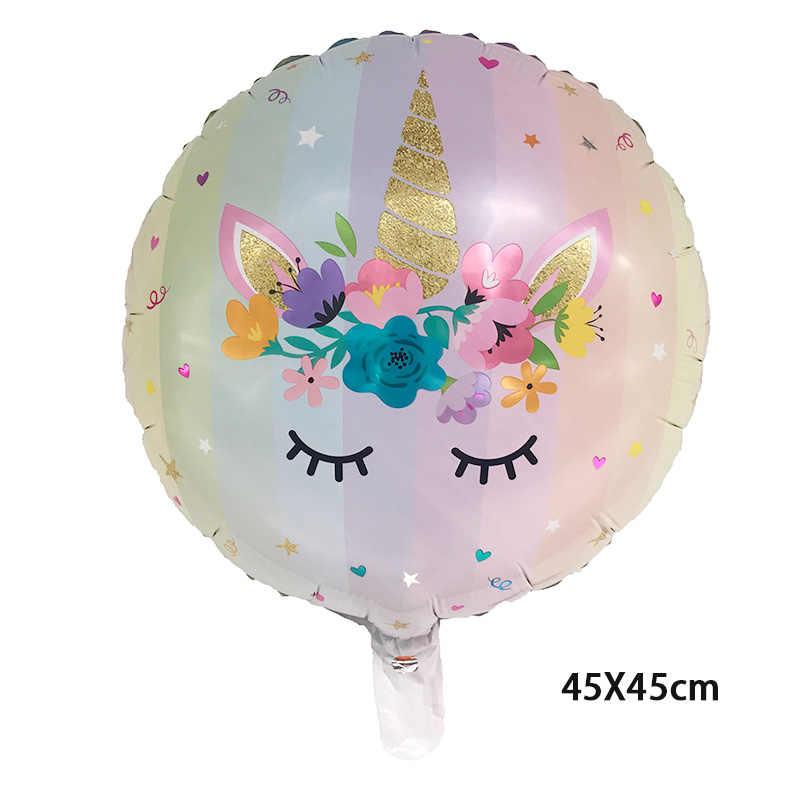 1 قطعة 18 بوصة جولة يونيكورن بالون الألومنيوم احباط بالونات الهيليوم يونيكورن حزب الزفاف عيد ميلاد الديكور globos