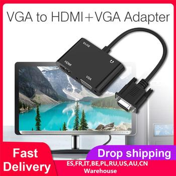 VGA to VGA+HDMI Adapter 1080P Dual-Monitor Audio/Video Converter VGA Splitter for PC, Notebook, Projector vention vga to hdmi adapter with audio support 1080p for pc laptop to hdtv projector video audio converter vga hdmi converter 1m