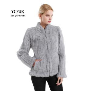 Image 5 - YCFUR vestes en fourrure véritable pour femmes, veste en fourrure de lapin épaisse tricotée pour femmes, veste dhiver pour femmes