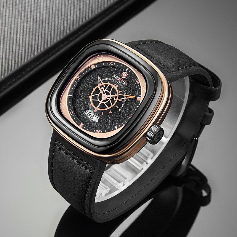 2019 hommes de luxe montres nouvelle mode carré Quartz montre haut marque KADEMAN décontracté en cuir montres affaires Relogio Masculino 3