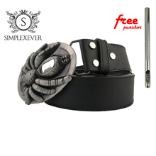 Dropshipping PU Belt with Spider Bottle Open Buckle Head Men's Buckles Suitable for 4cm Width
