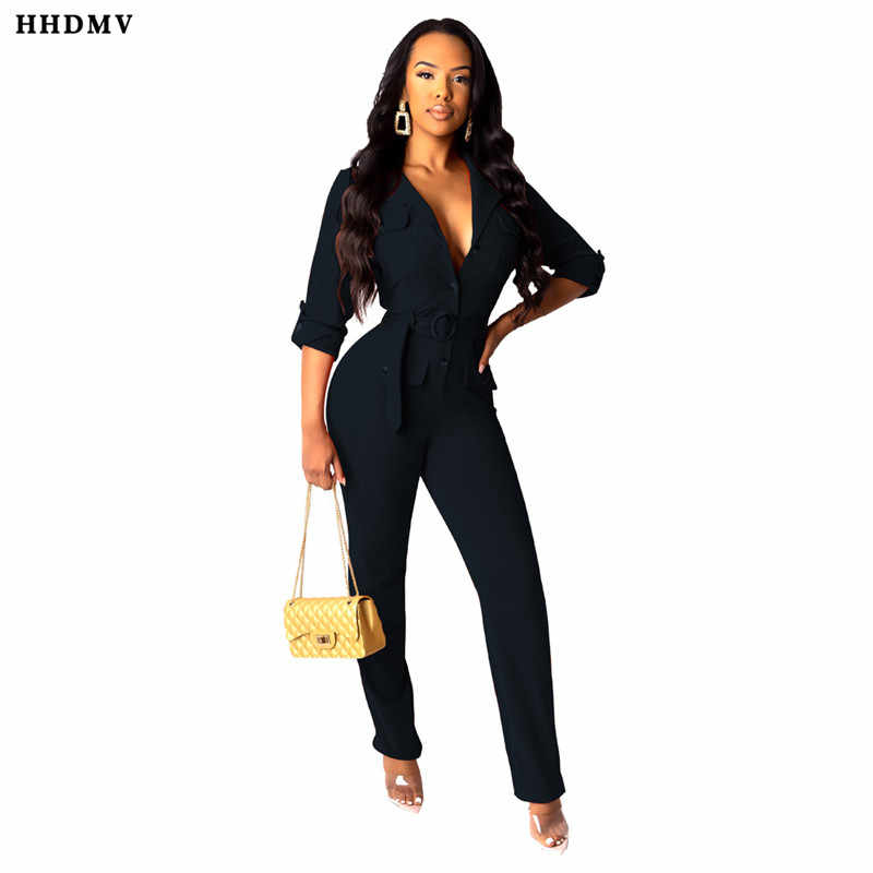 HHDMV BS1121 street casual outillage style combinaisons manches longues revers ceintures poches décoration 2 couleurs combinaisons pantalons longs