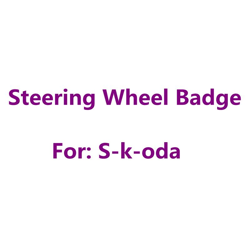 1pcs 3D Metal 42mm Black Silver Car Styling Auto Accessories For Skoda Car Steering Wheel Emblem Badge Logo Sticker Decals