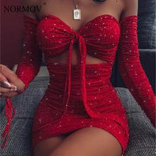 NORMOV Sexy Red Shiny Party Dress Women Long Sleeve Tie-up Bandage Strapless Club Bodycon Dress Hollow Out Folds Mini Dress