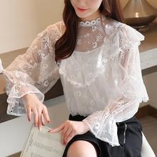 Women Set Lace Shirts 2019 Autumn New Fashion twotwinstyle Elegant temperament Hollow Chiffon Boho Blouse 990G