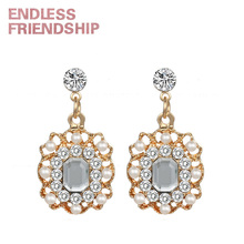Endless Friendship Vintage Exquisite Fashion Earring New Diamond earrings luxury crystal square pearl Jewelry