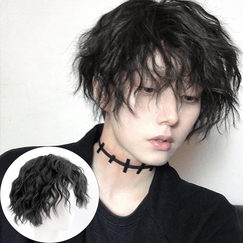 Парик DIANQI для мужчин и женщин, короткие кудрявые черные синтетические искусственные волосы с челкой для мужчин и мальчиков|Синтетические парики без сеточки| | АлиЭкспресс