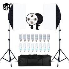 Fotoğraf stüdyosu 8 LED 20W Softbox kiti fotografik aydınlatma kiti kamera ve fotoğraf aksesuarları 2 işık standı 2 Softbox kamera fotoğraf