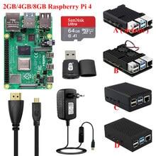 Original raspberry pi 4 modelo b 2gb/4gb/8gb + caixa de alumínio + fonte de alimentação + cartão sd leitor de cartão + cabo de vídeo rpi 4b pi4 kit