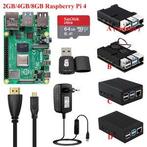 Оригинальный Raspberry Pi 4 Model B 2 ГБ/4 ГБ/8 ГБ + Алюминиевый Чехол + источник питания + SD-карта + кардридер + видеокабель RPI 4B Pi4 комплект