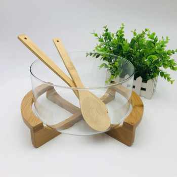 New Glass Salad Bowl with Bamboo Fork Wooden Botton for Hotel Fruit Dessert Bowl Creative Household