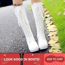 Haoshen & menina lacing até o joelho botas de inverno altas mulheres cosplay sapatos branco preto saltos quadrados sapatos de couro calçados tamanho grande 33-48