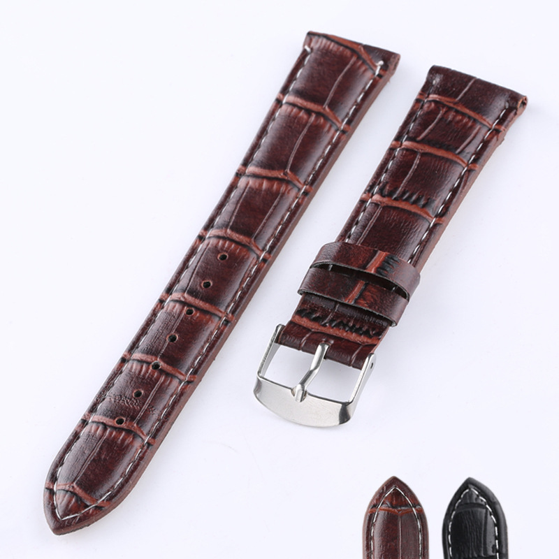 Genuine Leather Watchband 16mm/18mm/20mm/22mm Brown Black High Quality Unisex Sport Wrist Watch Band Strap Belt