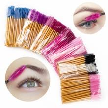 50PCS Eyelash Brushes Disposable Mascara Wands False Eyelashes Extension Brush Eyebrow Brush Applicators Makeup Lash Brushes цена
