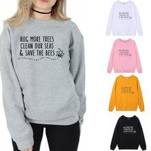 Women Long Sleeve Crew Neck Sweatshirts Funny Letters Print Casual Pullover Tops Environmental Protection Graphic Slogan T-Shirt 3d flame bird print crew neck long sleeve t shirt
