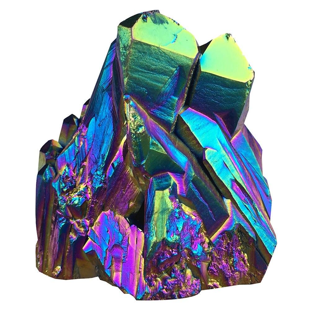 2Pcs Faceted Rainbow Titanium Crystal Triangle Pendant Bead 38x20x9mm W304SJ