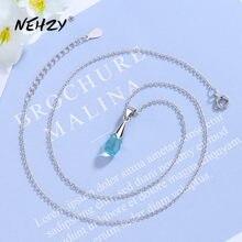NEHZY – collier en argent Sterling 925 pour femme, pendentif en Zircon cristal bleu de haute qualité, longueur 43.5CM, nouvelle collection